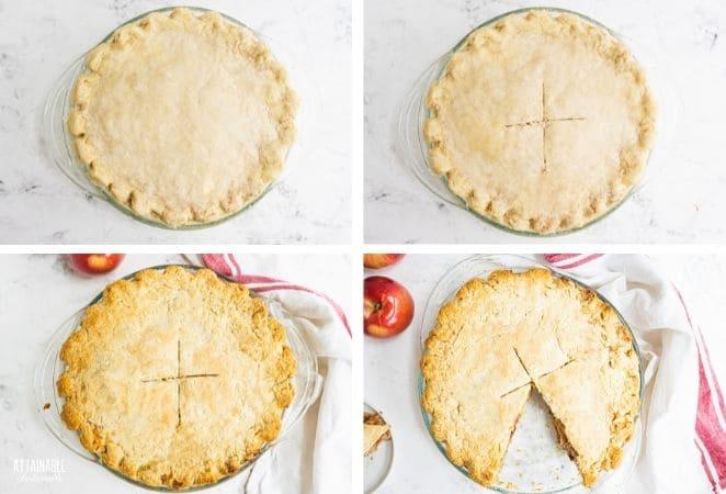 uncooked pie, pie with X, cooked pie, cooked pie with slice removed.