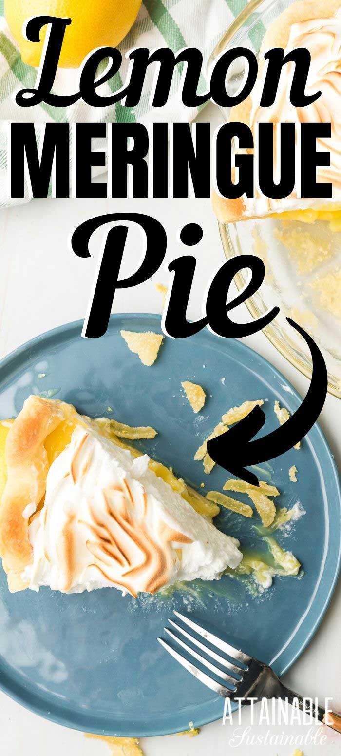 slice of lemon meringue pie on a blue plate