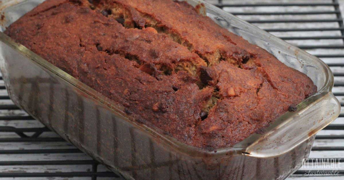 banana bread in a loaf pan