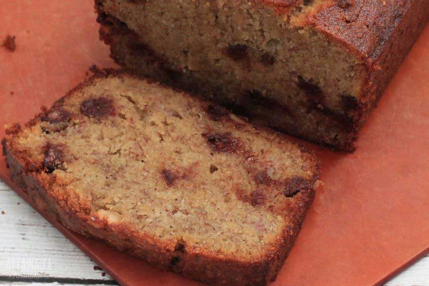 slice of chocolate chip banana bread