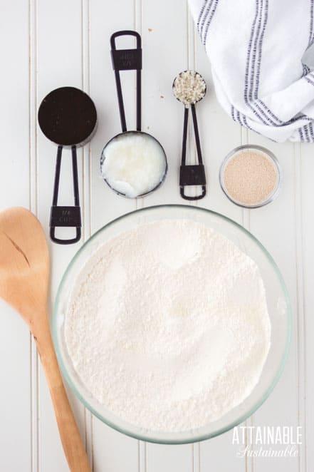 ingredients for making rolls: flour, sugar, yeast, salt
