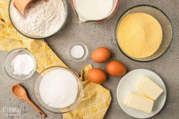 ingredients for homemade cornbread recipe