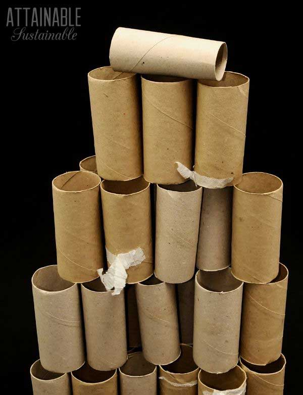 cardboard toilet paper tubes in a pyramid