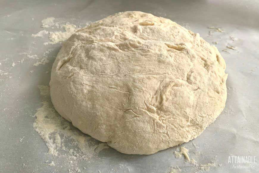 uncooked ball of bread dough