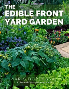 """pretty garden with tomatoes and flowers - cover of book """"edible front yard garden"""""""