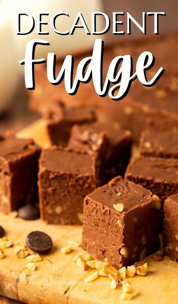 squares of fudge on a cutting board