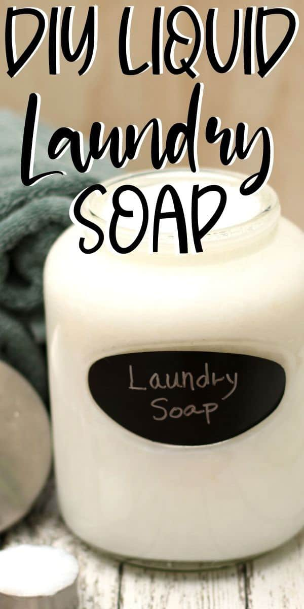 glass jar with homemade laundry soap recipe