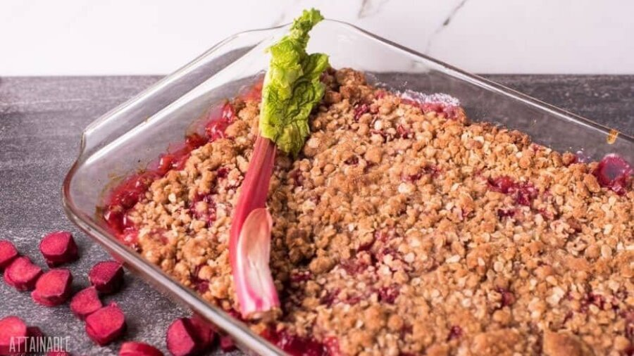 rhubarb crisp in a glass baking dish