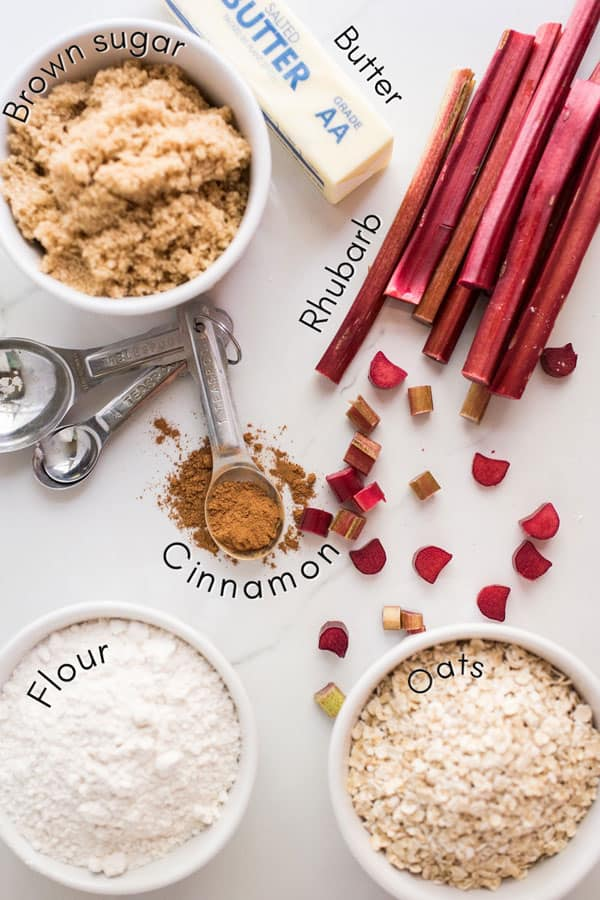 ingredients for rhubarb crisp from above