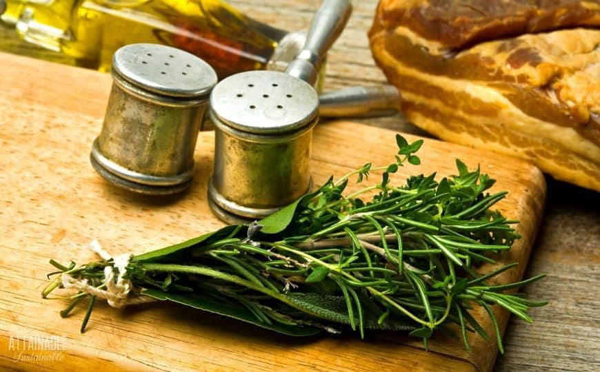 bouquet garni on a wooden board with salt and pepper shakers