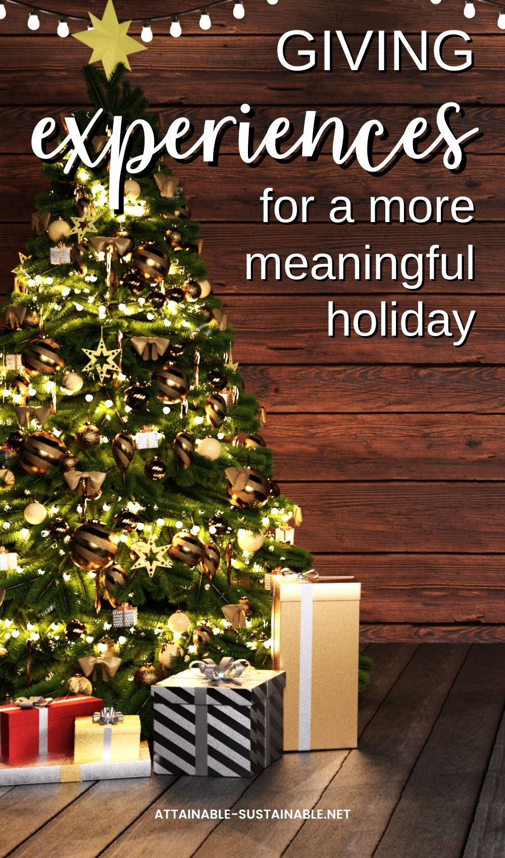 DECORATED XMAS TREE ON BROWN BACKGROUND