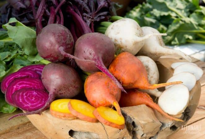 colorful beets: red, orange, and white