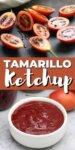 tamarillos cut in half + ketchup recipe in a white bowl