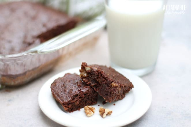 TWO BROWNies on a white plate, glass of milk behind
