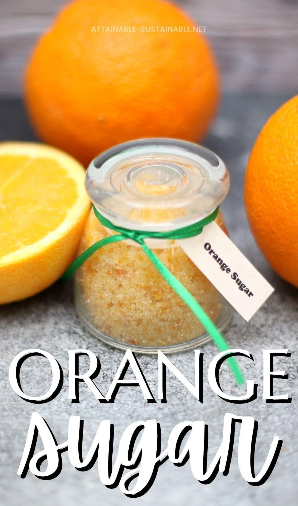 decorative glass jar with sugar and orange zest inside