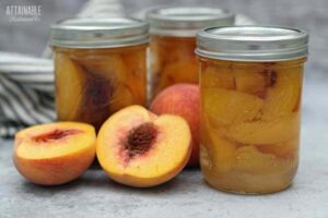 3 jars of canned peaches, with fresh peach halves
