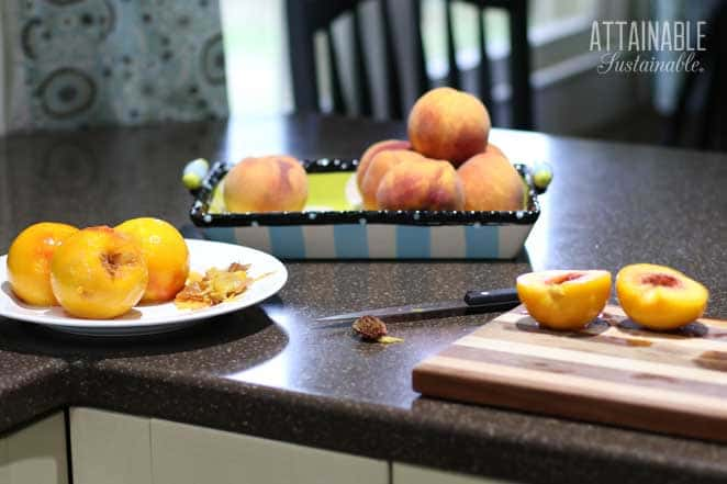 kitchen counter with sliced peaches on a cutting board, whole peaches behind, and more peaches on a white plate